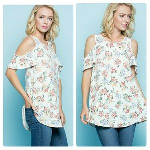 Tops - NWT FLORAL COLD SHOULDER SOFT TUNIC